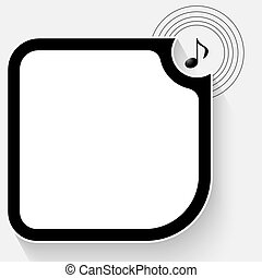 Black text box for your text and music symbol