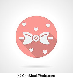 Bow tie and hearts round pink flat vector icon - White...