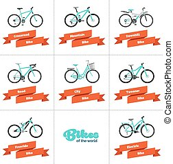 Bikes of the World - Set of various sport, city and electric...