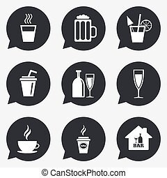 Cocktail, beer icons Coffee and tea drinks Soft and alcohol...