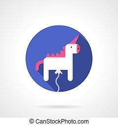 White unicorn balloon round flat vector icon