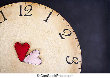 handmade stitched hearts on a clock - Two handmade stitched...