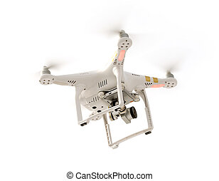 Camera Drone - Photo of a flying camera drone isolated...