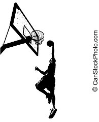 Slam Dunk Silhouette - High contrast silhouette illustration...