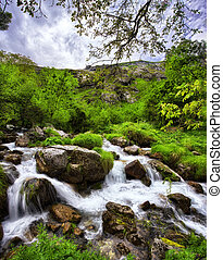 Tejo canal, Bulnes, Picos de Europa Natural Park, Asturias,...