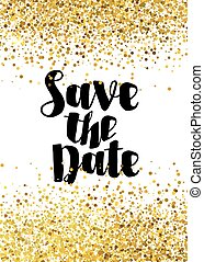 Save the date golden glitter wedding invitation template