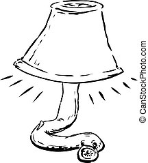 Outlined Lamprey Holding Lampshade - Outlined lamprey eel...