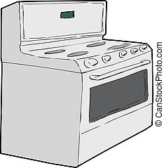 Generic Single Induction Stove - Hand drawn sketch of...