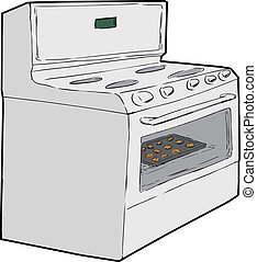 Single Oven with Cookies Inside - Cartoon sketch of...