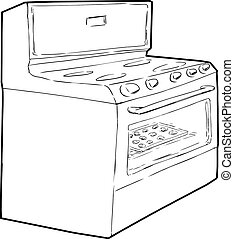 Single Oven with Cookies Inside - Outline sketch of...