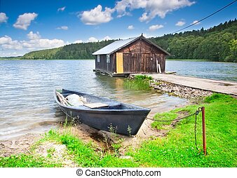 fisherman house - Mazury lake district landscape with...