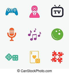Entertainment icons. Game, bowling and puzzle. -...