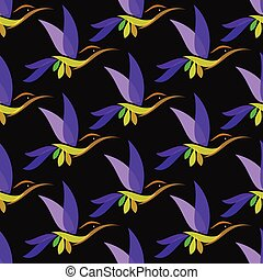Hummingbird vector art background design for fabric and...