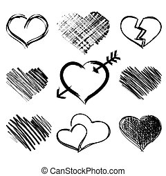 Set of hand drawn heart symbols