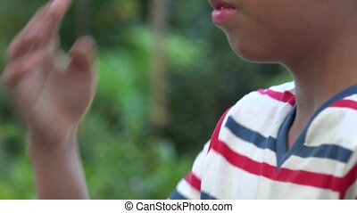 Christian Boy Praying With Hands