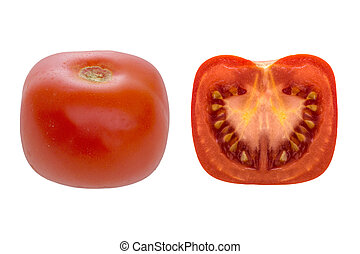 Square tomato. Modern agriculture, maybe genetically modified. Isolated.