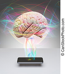 Intelligent smart phone - Human brain communicating with...