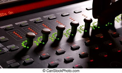 musician man brings music mixer music studio remote -...