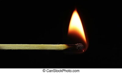 Burning Match and Flame - Safety Match close-up on a black...