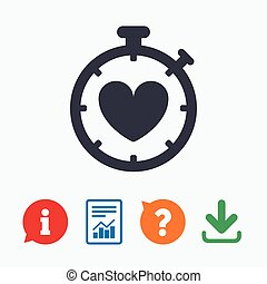 Heart Timer sign icon Stopwatch symbol Heartbeat palpitation...