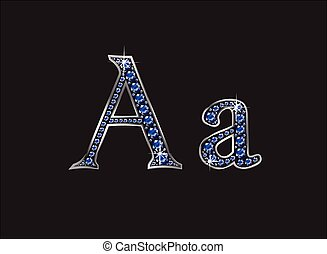 Aa Sapphire Jeweled Font - Aa in stunning blue sapphire...