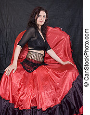 girl Spaniard - girl in red-black Spanish clothes