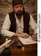 Medieval man sitting on a table and sign a contract
