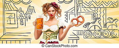 Flying horses. - Beautiful sexy Oktoberfest waitress wearing...