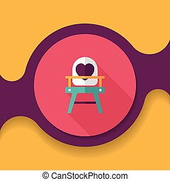 baby high chair flat icon with long shadow,eps10