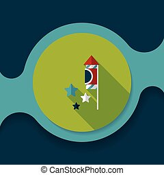 Firecracker flat icon with long shadow,eps10