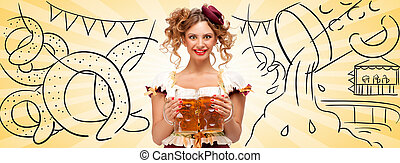 Yummy spirits - Beautiful woman wearing a traditional...