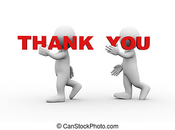 3d people word text thank you - 3d illustration of walking...
