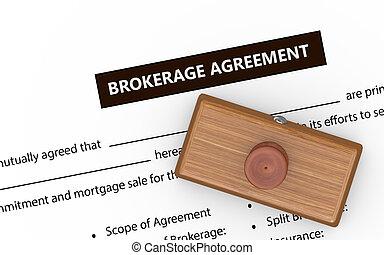 3d brokerage agreement rubber stamp - 3d illustration of...