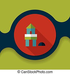 brick house flat icon with long shadow,eps10