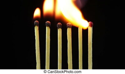 Burning matches, Chain Reaction and Flame - Six Matches...