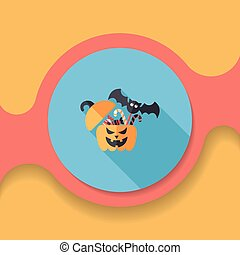 Halloween pumpkin shaped box with candies flat icon with...