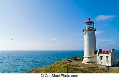 North Head Lighthouse on the Oregon Coast on a Clear, Sunny...