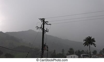 Telephone Pole and Lightning Strike