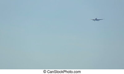 Airplane approaching - Boeing 767 approaching on the...