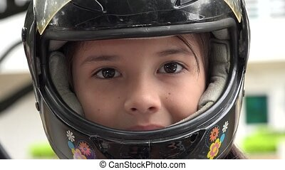 Child Wearing Motorcycle Helmet