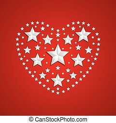 Heart symbol made of gray stars on red background