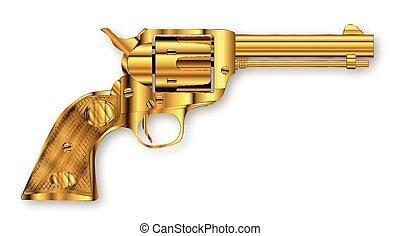 Golden Six Gun - A golden six gun isolated over a white...