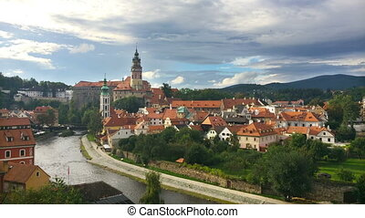 Cesky Krumlov. Clouds over the city. Time lapse.