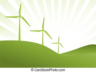 green wind generator - three green wind generator with green...