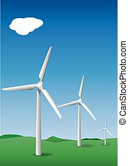 three  wind turbines with sky and green hilly forground