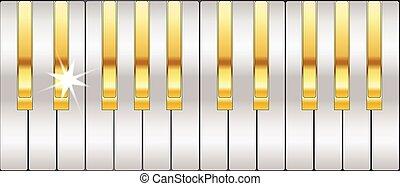 Gold And Silver Piano Keys