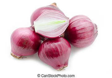 Red sliced onion - Red sliced onion on white background