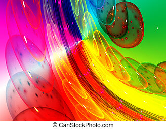 Abstract colorful waves and random circles, background