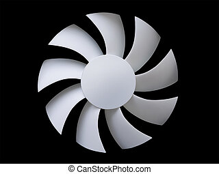 White fan blades on black - White fan blades isolated on...