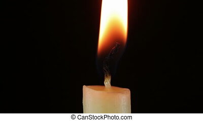 Burning Candle and Flame